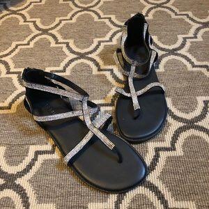Torrid Black Bling Gladiator Zip Back Sandal NWOT